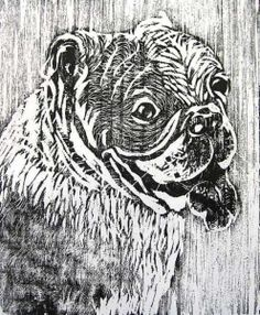 Bulldog Print Handpulled Woodblock Relief print by robinzebleyart, $25.00