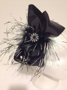 Zebra Feather Black Cheer Hair Bow or Headband Shop Our Etsy store.