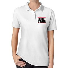 VEAGLE I Dont Care Polo Shirt For Women White >>> Learn more by visiting the image link.