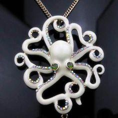Vintage Steampunk Cream White Octopus Crystal Necklace   eBay