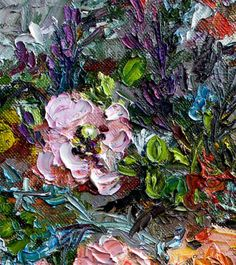 Detail Image of Heirloom Roses Still life Fine Art Modern Impressionist Original Oil Painting by Ginette Callaway