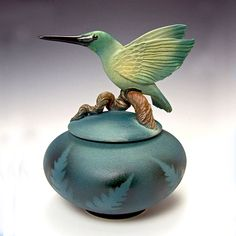Hummingbird Covered Ceramic Urn Jar for Ashes of Loved Ones