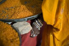Dishes of spices in India
