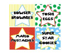 Personalized Super Mario Party Printable Food Labels or Favor Tags