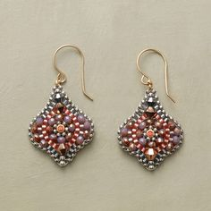 "MOSAIC MEDLEY EARRINGS -- Peach hydro quartz encirlces the center of Miguel Ases's cartouche mosaics, hand woven in USA with pyrite, Swarovski crystals and Miyuki seed beads. Exclusive. 14kt gold filled French wires. 1-5/8""L."