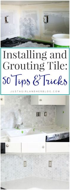 If you have a tile project coming up, be sure to read this first!!! Installing and Grouting Tile: 50 Tricks and Tips | JustAGirlAndHerBlog.com Tile Grout, Tiles, Tile Projects, Home Improvement, Vanity, Bathroom, Room Tiles, Painted Makeup Vanity, Lowboy
