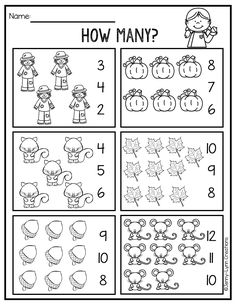 This fun fall themed math packet is perfect for teaching counting and cardinality. The packet was created using the comm Kindergarten Math Worksheets, Preschool Education, Preschool Learning, Teaching, Numbers Kindergarten, Alphabet For Kids, Basic Math, Math For Kids, Core Standards