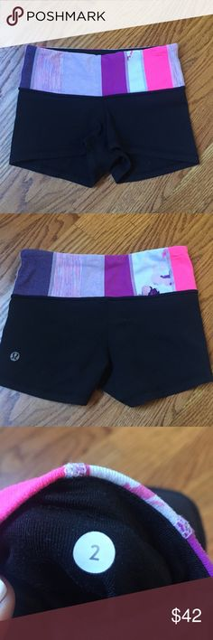 🍋Lululemon reversible boogie  shorts 🍋😁Lululemon adorable reversible shorts beautiful waistband in pinks and purples lululemon athletica Shorts