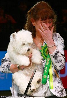 Overwhelmed: Ms Burns wiped tears from her eyes as Devon was named the winner...