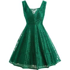 Retro Lace Fit and Flare Cocktail Dress ($23) ❤ liked on Polyvore featuring dresses, lace cocktail dress, lace dress, green fit and flare dress, retro cocktail dresses and lace fit and flare dress