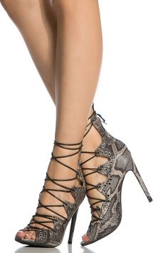 Faux Snake Skin Multi Lace Up Open Toe Single Sole Heels @ Cicihot Heel Shoes online store sales:Stiletto Heel Shoes,High Heel Pumps,Womens High Heel Shoes,Prom Shoes,Summer Shoes,Spring Shoes,Spool Heel,Womens Dress Shoes