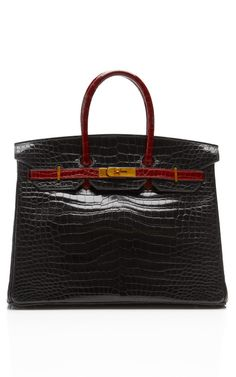Hermes 35Cm Shiny Black Rouge H Two-Tone Porosus Crocodile Birkin With Gold Hardware by Heritage Auctions Special Collections - Moda Operandi
