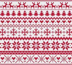 Christmas Red Fair Isle Modern Cross Stitch Pattern by RathboneSass on Etsy Modern Cross Stitch Patterns, Cross Stitch Borders, Cross Stitch Charts, Cross Stitch Designs, Cross Stitching, Fair Isle Knitting Patterns, Knitting Charts, Loom Patterns, Christmas Knitting