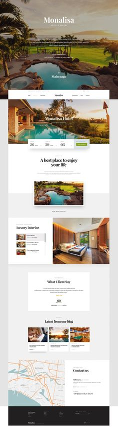 Monalisa - Booking Hotel Site on Behance Website Design Layout, Web Layout, Layout Design, Hotel Website Design, Site Hotel, Hotel Sites, Web Ui Design, Web Design Services, Template Web