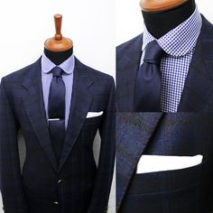 Here's our gingham club shirt with the navy blue linen tie and white pocket square. Get it at: www.grandfrank.com