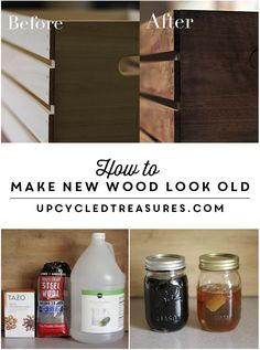 Homemade wood stain to make new wood look old. Inexpensive and easy!