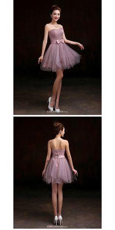 Short/Mini Tulle Bridesmaid Dress - Purple A-line Sweetheart  #shortbridesmaiddress