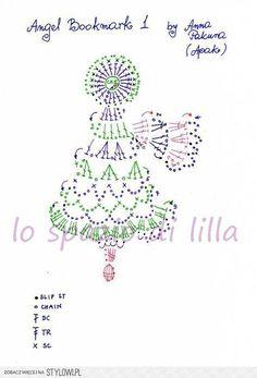Angel bookmark 1 - Free Original Patterns - Crochetvill… na Stylowi. Crochet Rings, Crochet Diy, Freeform Crochet, Crochet Home, Thread Crochet, Crochet Motif, Crochet Patterns, Crochet Snowflake Pattern, Crochet Snowflakes