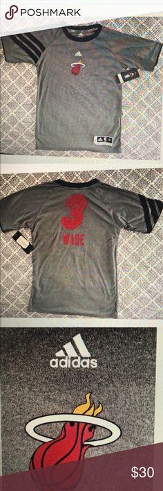 2ece63e3b40b Adidas NBA Basketball tee shirt Miami Heat wade 3 Adidas NBA Basketball Tee  shirt Gray
