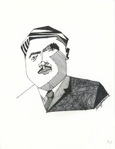Abdul Rahman Khudr, Iraqi Makam, Iraqi Music, Iraqi singer, 11x14 inch Marker Drawing