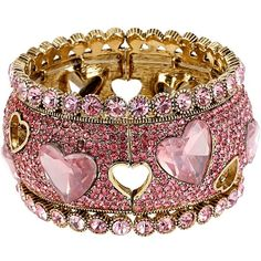 Betsey Johnson Iconic Pinkalious Heart Wide Bangle ($125) ❤ liked on Polyvore featuring jewelry, bracelets, betsey johnson, fuschia, stretchy bracelet, open heart bracelet, hinged bangle, antique gold bracelet en stretch bracelet