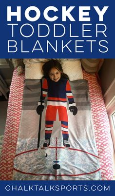 Our new baby and toddler blankets help future hockey players have sweet hockey dreams! Personalized options available too!