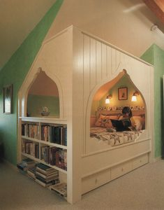 cozy bed . bookshelves . storage . nook