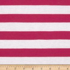 Rayon Blend Jersey Knit Stripes Fuchsia
