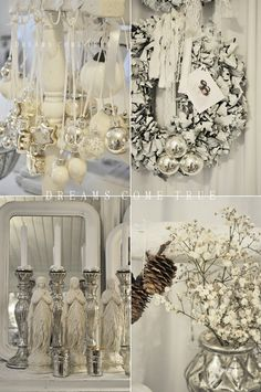 Fashion of shabby chic is increasingly widespread. It can give inspiration for some decoration for next Christmas. Have you ever heard of shabby chic Christmas Noel Christmas, Victorian Christmas, Pink Christmas, Vintage Christmas, Christmas Ideas, Christmas Mantles, Classy Christmas, Xmas, Christmas Ornaments