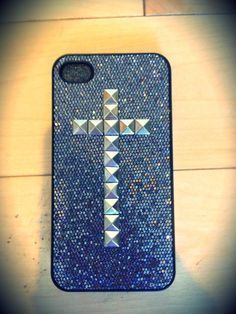 Jus bought this a couple days ago.. (: Glitter cross studded iPhone 4/4S case by TouchedByGrace31 on Etsy, $17.50