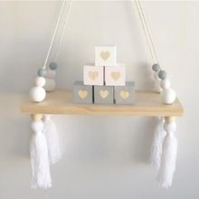 Wall Hanging Ornaments Tassel Pearl Pendant Wooden Board INS Nordic Style Home Kids Baby Bedroom Decoration Props Craftwork(China (Mainland))