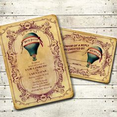 OCTAVIA - Victorian Steampunk Hot Air Balloon Wedding Invitation Suite - Teal & Wine Printable DIY Antique Travel Carnival Inspired Wedding