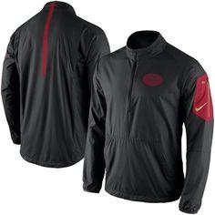 Nike San Francisco 49ers Black Lockdown Half-Zip Jacket Futebol Americano 2635b45029224