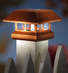 solar lights on top of fence post Big Deck, Deck Posts, Home Decor Catalogs, Fence Lighting, Collections Etc, Mood Light, Solar Lights, Exterior Design, Fendi