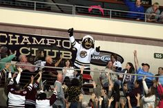 11.03.13 - Coco getting the crowd pumped up during the Ford t-shirt toss.  Photo courtesy of JustSports Photography