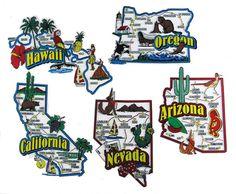 Arizona California Hawaii Nevada Oregon Usa Map State Magnets