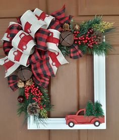 Outstanding Xmas decorations info are offered on our site. Christmas Red Truck, Rustic Christmas, Christmas Fun, Christmas Wreaths, Winter Wreaths, Country Christmas Decorations, Xmas Decorations, Christmas Projects, Holiday Crafts