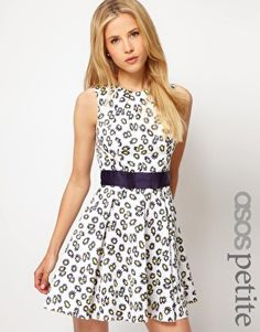 Enlarge ASOS PETITE Exclusive Skater Dress With Daisy Print