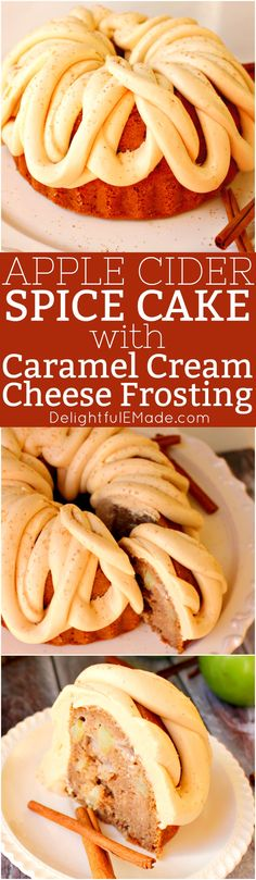 This amazing Apple Cider Cake recipe, toppedwith Caramel Cream Cheese Frosting is the perfect fall dessert! Made in a bundt pan, this fantastic apple cakewill be a showstopper for any occasion!