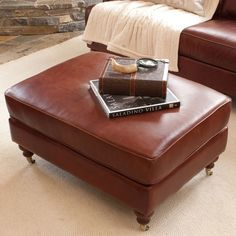 I pinned this Cambridge Leather Ottoman from the Aspen Lodge event at Joss and Main!