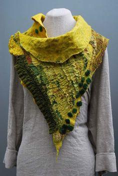 Graceful hand felted art scarf dandelium by sassafrasdesignl, $120.00