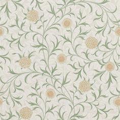 Scroll/Ringblomma år 1871. Engelska tapeter med ringblommor av William Morris.