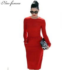 Women Elegant Solid Vintage Patch Pocket Sheath long Sleeve Midi Work Dress