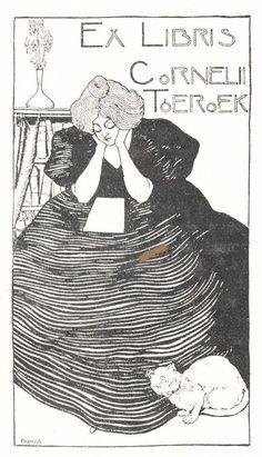 Ex libris by József Faragó (1866-1906) hungarian graphic artist