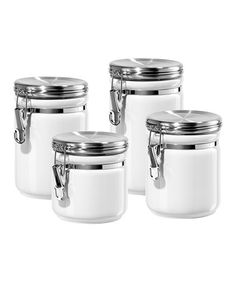 Take a look at this White Round Four-Piece Canister Set by OGGI on #zulily today!