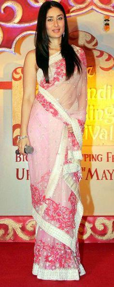 kareena kapoor pink transparent saree