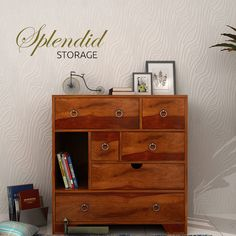 This magnificent Ruddy chest of drawers with a pleasant honey finish over Sheesham wood is very durable. Its six #drawers will help you in getting the clean and #organised room, and the metal rings will add beauty to your #home. Place it in your hallway and get compliments from your near and dear ones.