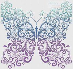Purple Blue Green Butterfly - cross stitch pattern designed by Tereena Clarke. Category: Fantasy.