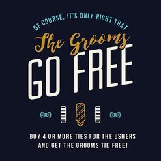 We love a #Wedding! Happy to introduce our special 'Grooms go FREE' offer! #GroomAttire #WeddingSeason #ForTheDistinguished