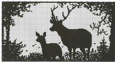 buck & doe in silhouette